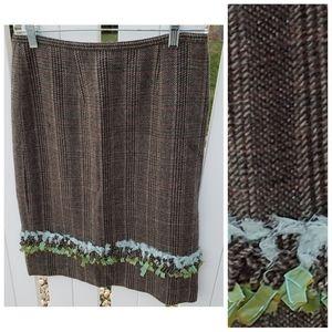 Etcetera Wool Winter Midi Skirt Fringe Plaid
